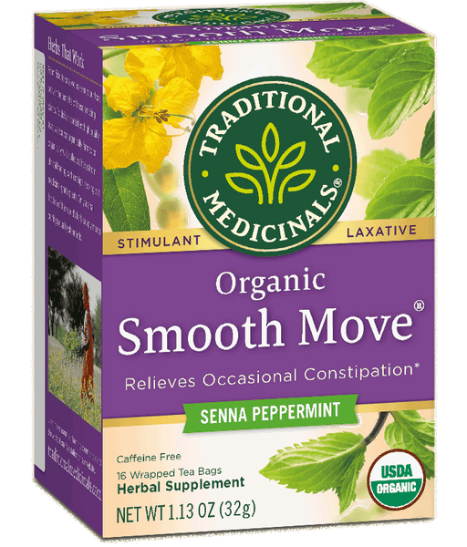 T.M TEA SMOOTH MOVE SENNA PEPPERMINT  6 PK X 16 TEA BAGS