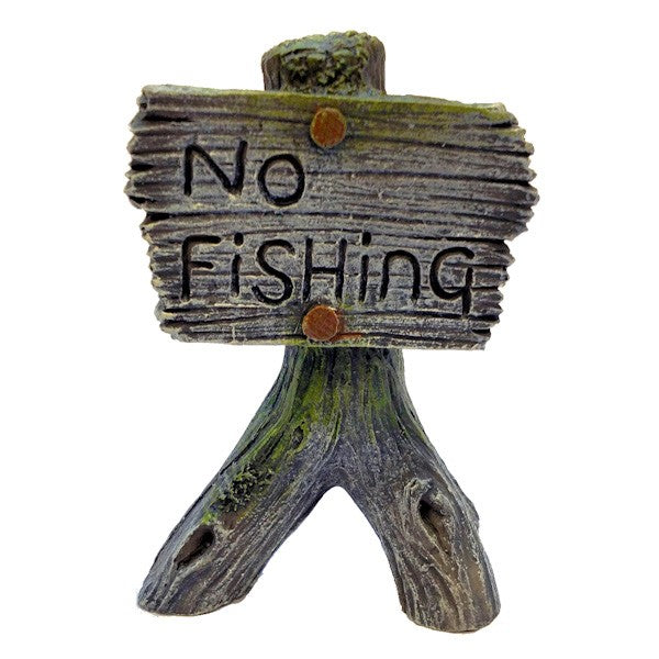 Betta Aquarium Grey No Fishing Sign Ornament