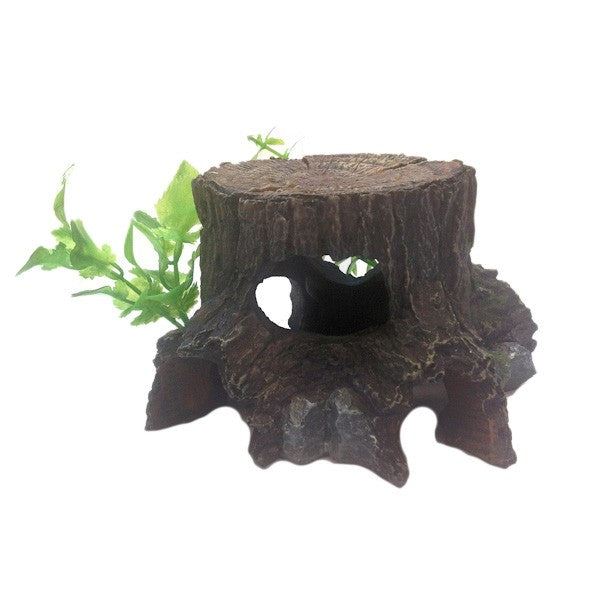Betta Aquarium Medium Tree Stump & Plant