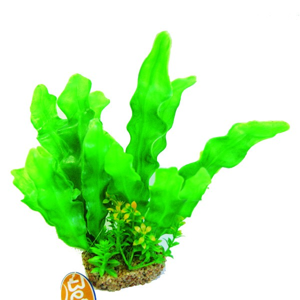 "Betta Aquarium 10"" Green Plastic Plant With Sand Base"