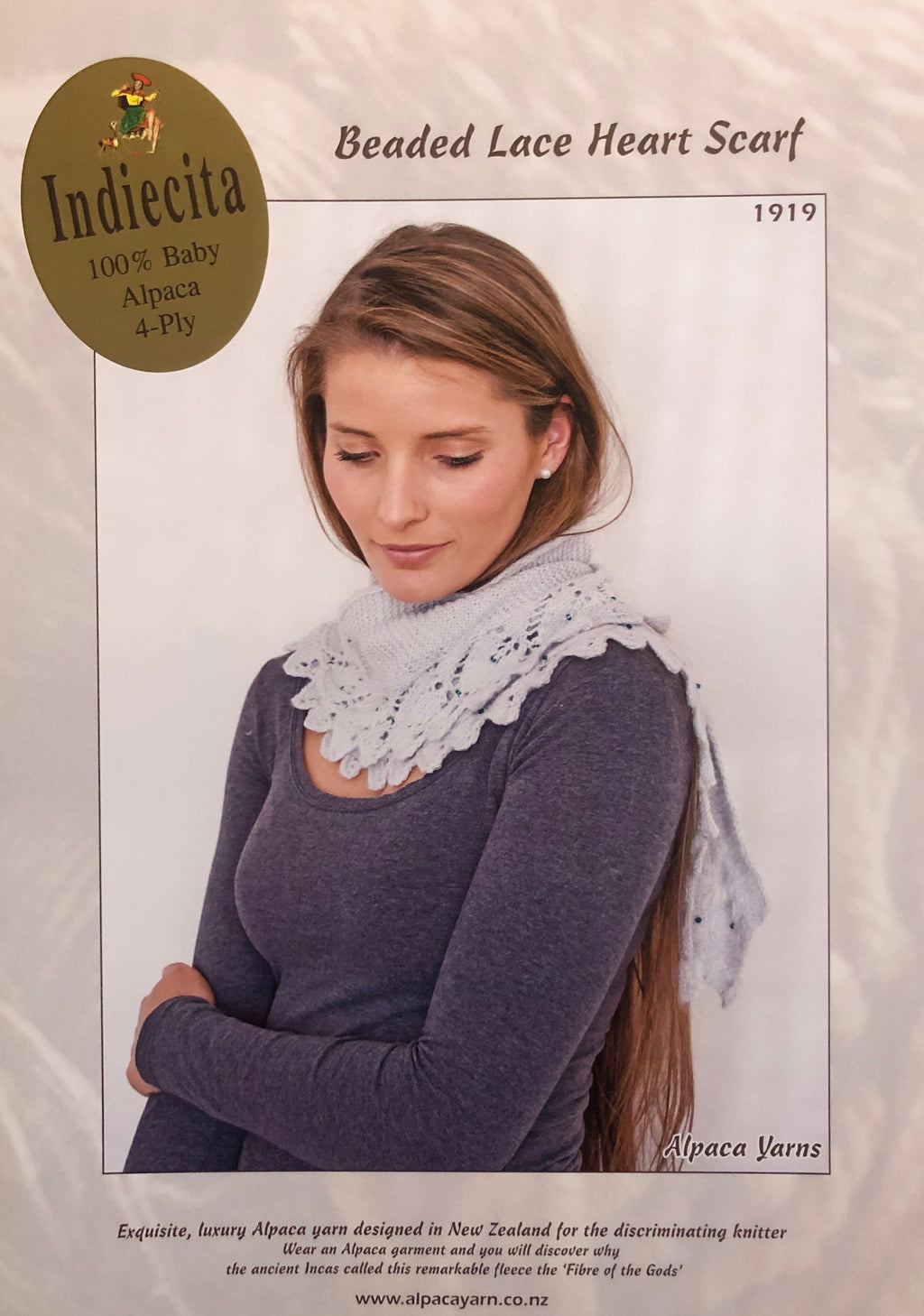 4 Ply Beaded Lace Heart Scarf - Pattern - 1919 - The Mulberry Tree at Milton