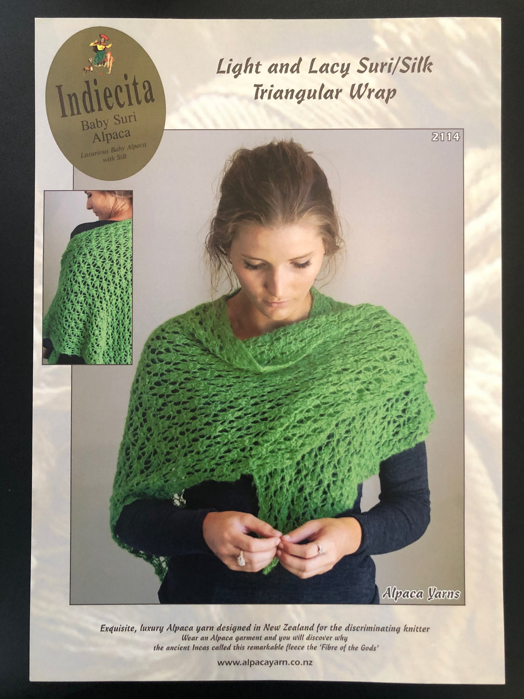 Light and Lacy Triangular Wrap in Indiecita Baby Suri Alpaca-Pattern-2114 - The Mulberry Tree at Milton