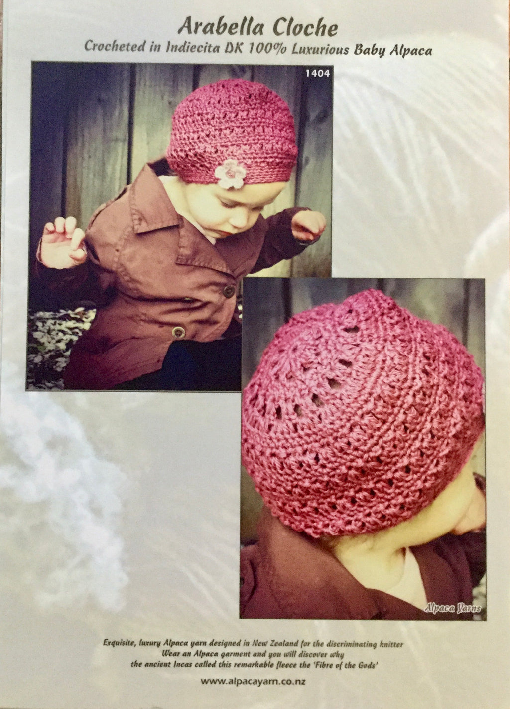 Arabella Cloche Crocheted in Indiecita DK 100% Baby Alpaca - 1404 - The Mulberry Tree at Milton