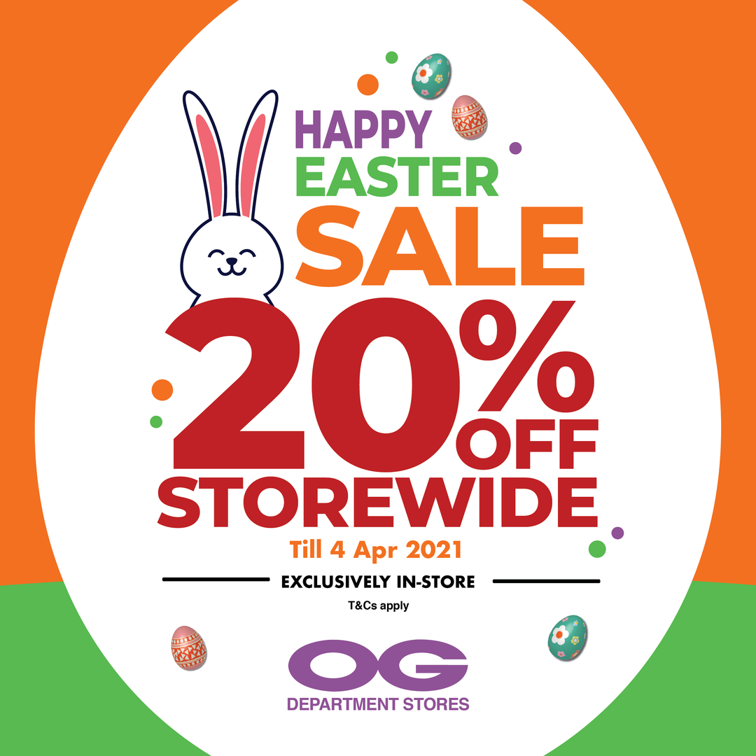 🐰  Happy Easter Sale 🐰 Storewide 20% off from 1–4 Apr only!