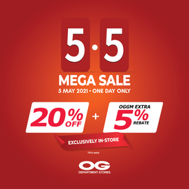 5.5 MEGA SALE 👏 Storewide 20% Off + OGGM Extra 5% Rebate & More!