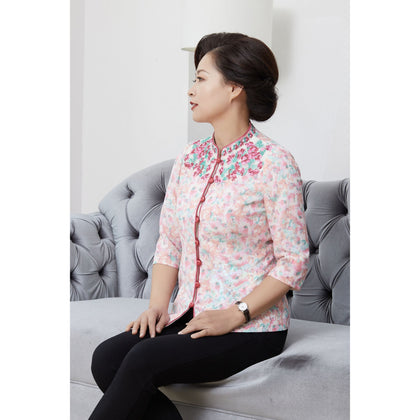 NINA Blouse with Mandarin Collar - Pink