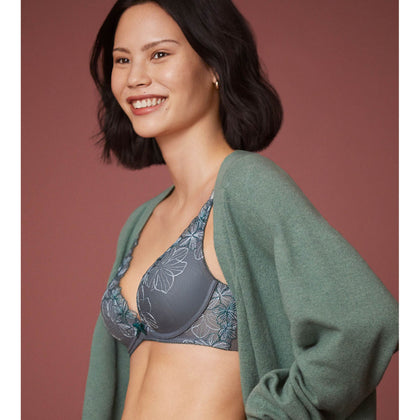 Triumph Aqua Finesse Deep V Wired Push up Bra - Grey
