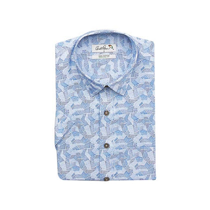 Arnold Palmer 100% Cotton Short-Sleeved Shirt - Blue Terrazzo