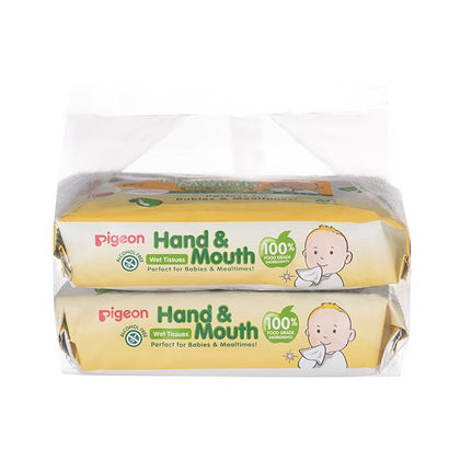 Pigeon Hand & Mouth Wet Tissue, 60S 2 in 1 Bag