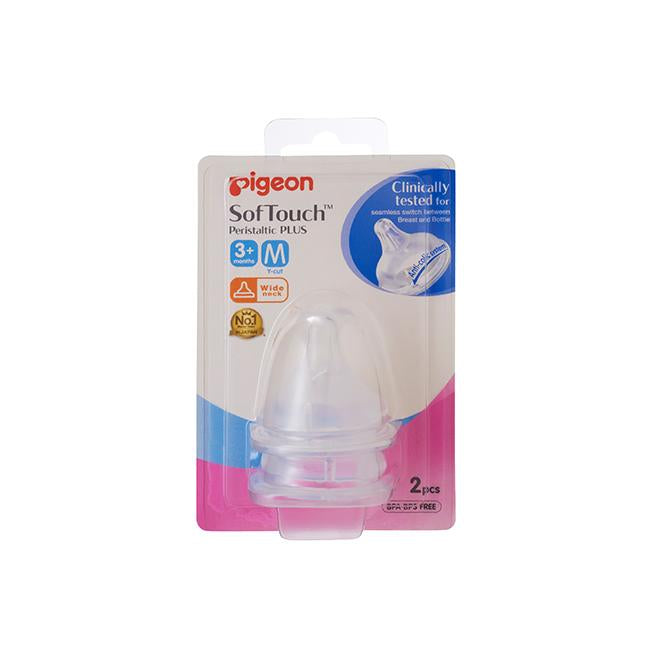 Pigeon Softouch Peristaltic Plus Nipple Blister Pack 2Pc (M)