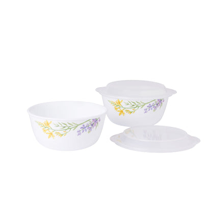Corelle 2pc Noodle Bowl Set with 2 Plastic Covers - Herb Garden