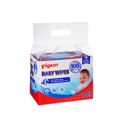 Pigeon Baby Wipes 80 Sheets 100% Pure Water 3in1