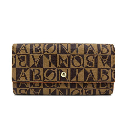 Bonia Monogram Long 3-Fold Wallet-Brown