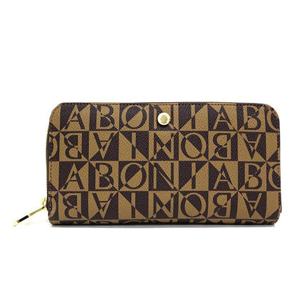 Bonia Monogram Long Zipper Wallet-Brown