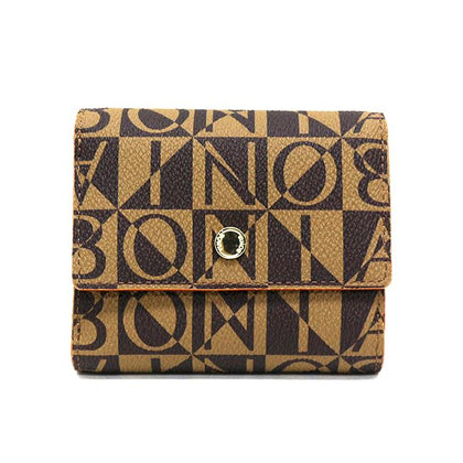 Bonia Monogram Short 3-Fold Wallet-Brown