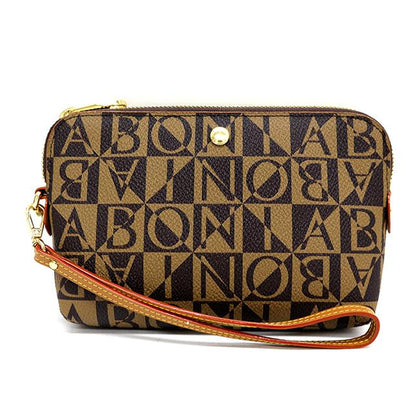 Bonia Monogram Zipper Pouch-Brown
