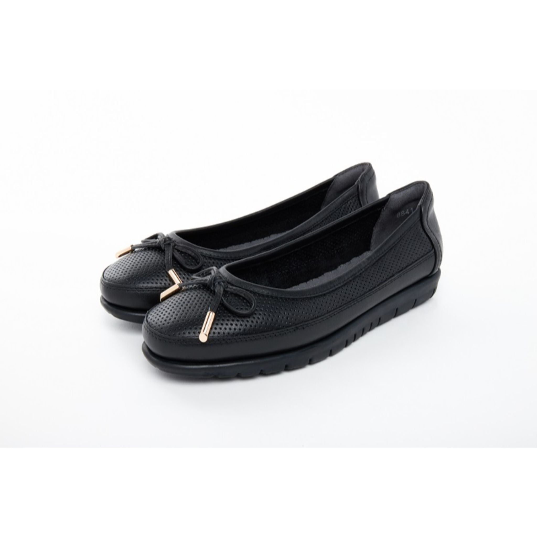 Barani Leather Pumps Ballet Flats With Fixed Bow 8841-141 Black