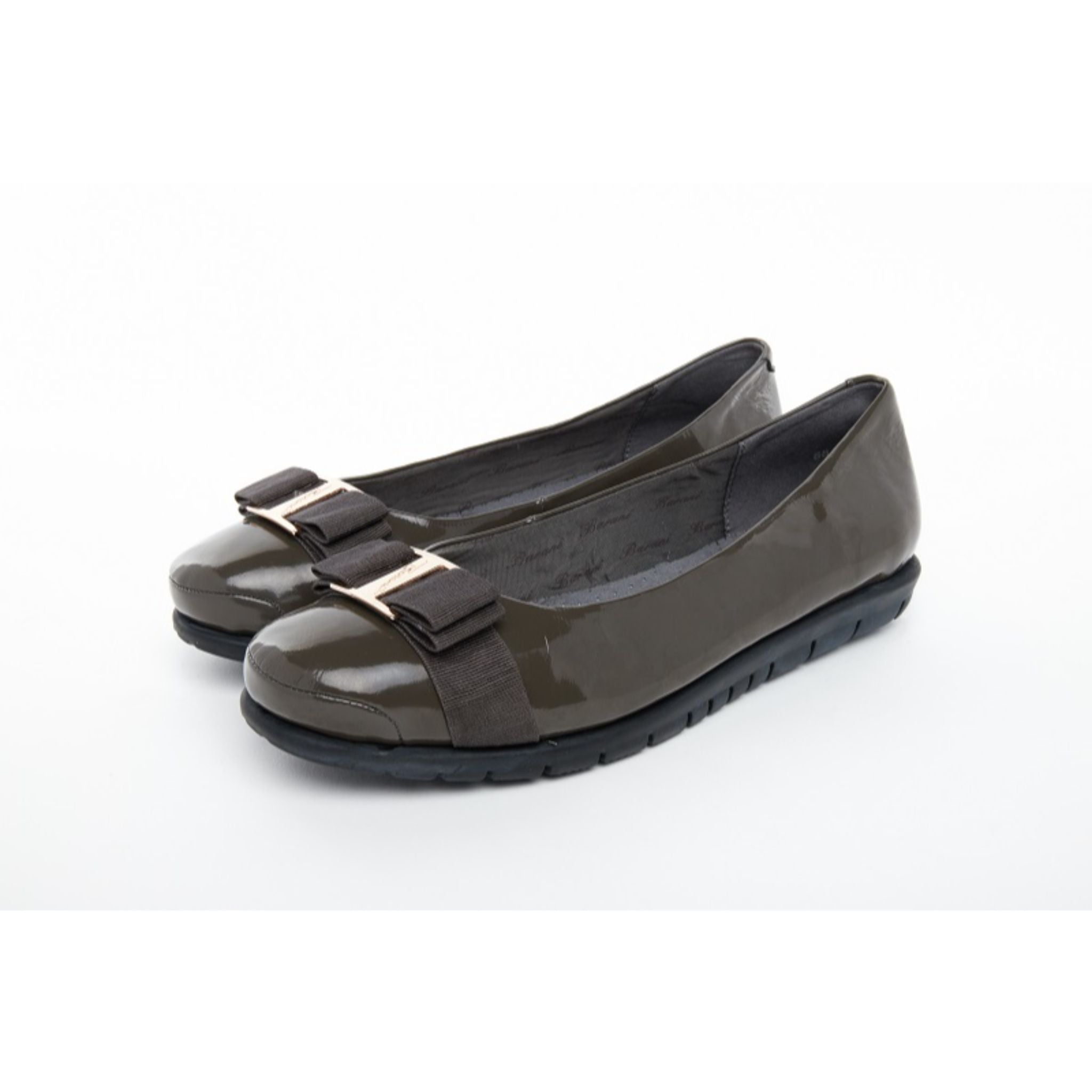 Barani Leather Pumps/Ballet Flats With Fixed Buckle 8841-199 Grey Patent