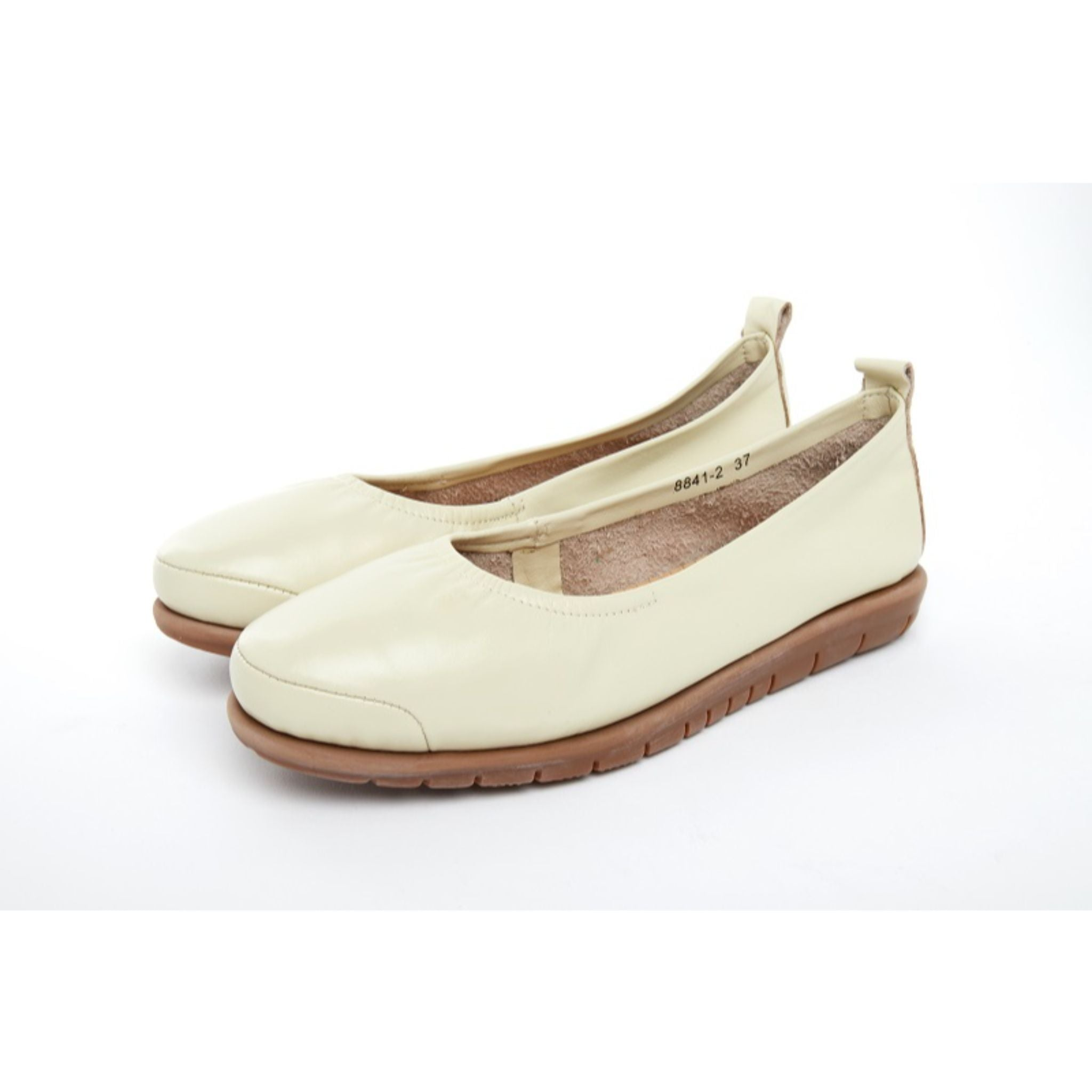 Barani Leather Pumps Ballet Flats 8841-2 Bone