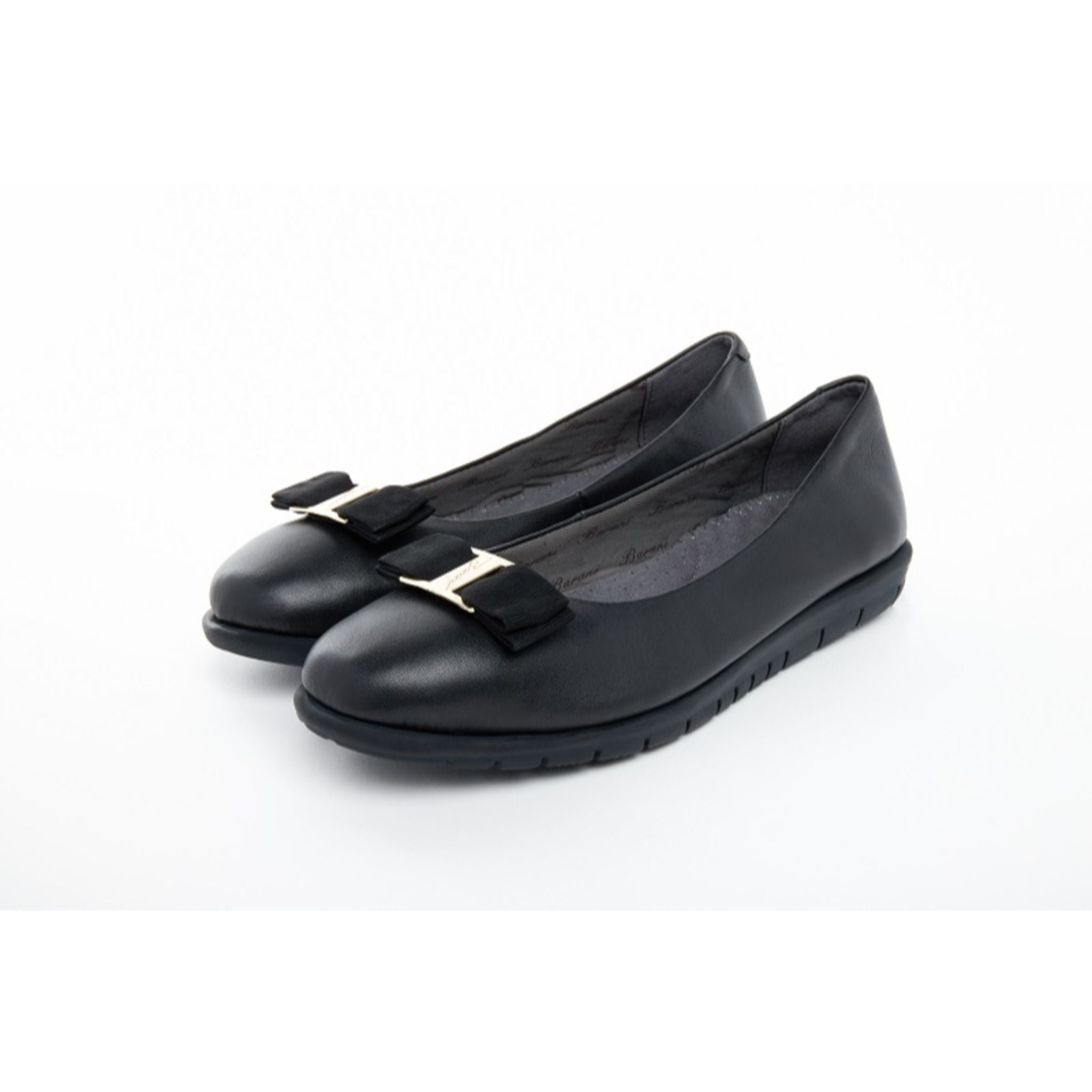 Barani Leather Pumps Ballet Flats with Fixed Buckle 8841-33 Black
