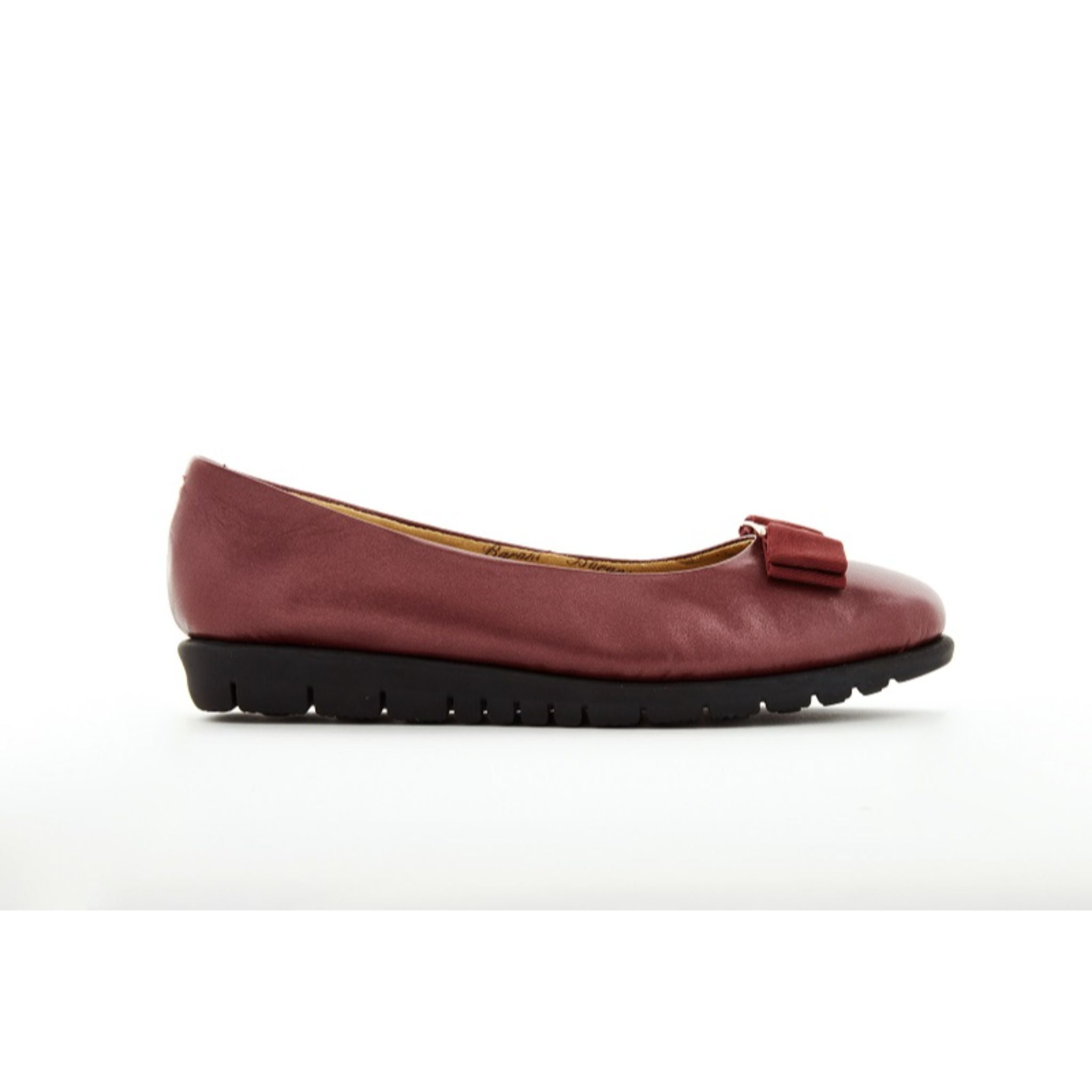 Barani Leather Pumps Ballet Flats with Fixed Buckle 8841-33 Maroon
