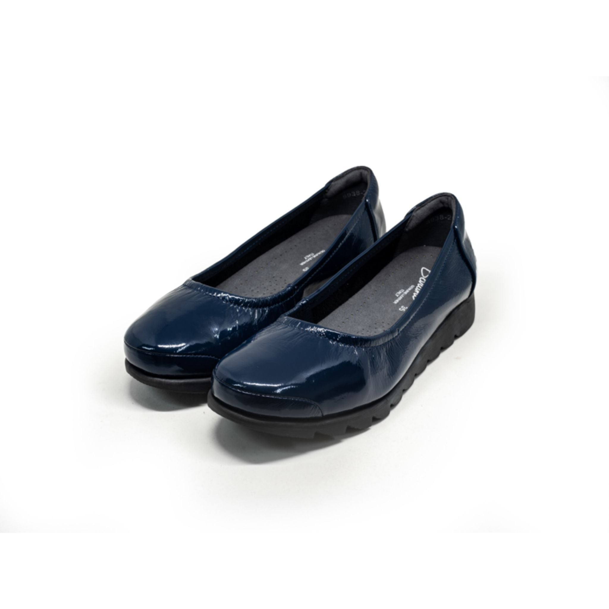 Barani Patent Leather Pumps Ballet Flats 8938-205 Navy Patent