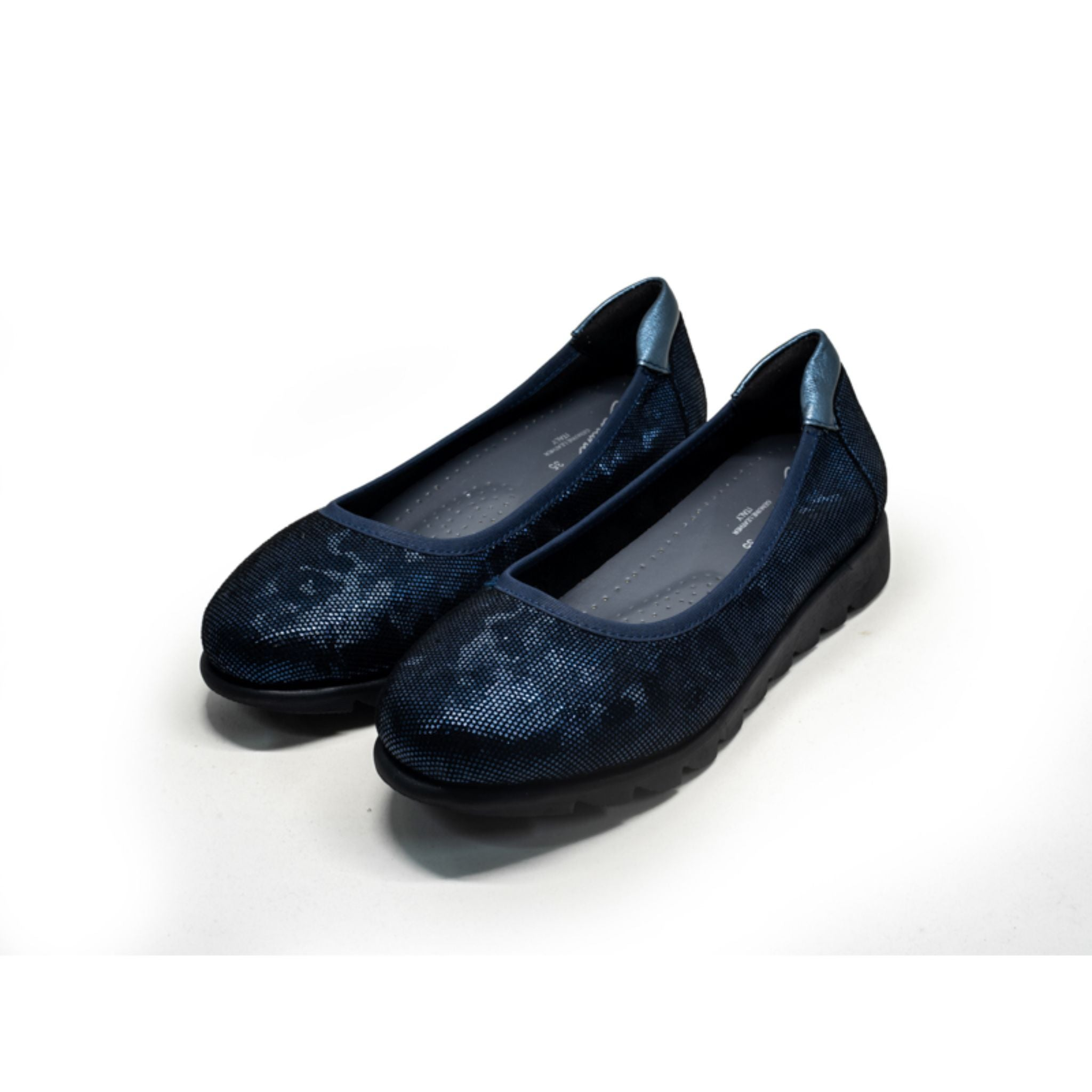 Barani Textured Leather Pumps Ballet Flats 8938-220 Navy