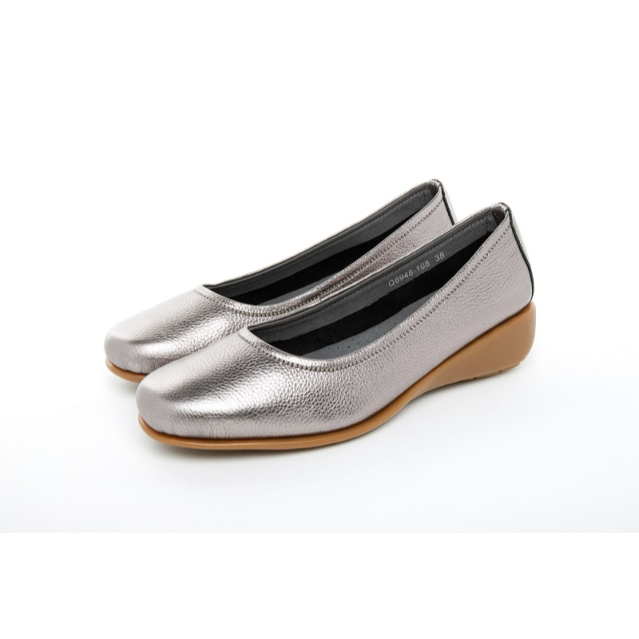 Barani Leather Pumps With Micro Wedge 8948-108 Silver