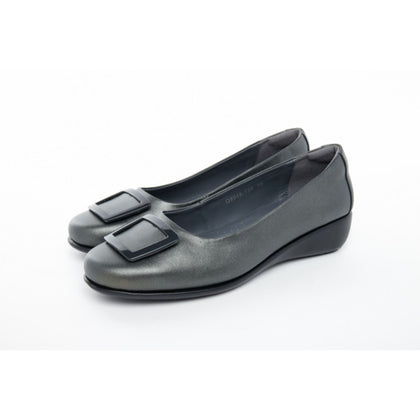 Barani Leather Pumps With Micro Wedge Fixed Buckle 8948-139 Gunmetal