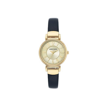 ANNE KLEIN Women's Easy-To-Read Gold Dial Strap Watch AK-2156CHNV