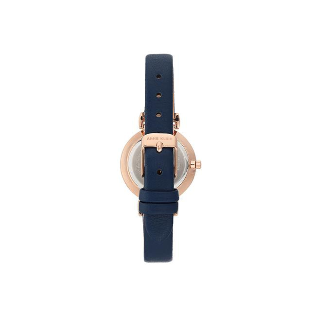 ANNE KLEIN Women's Easy-To-Read Navy Leather Strap Watch AK-2156NVRG