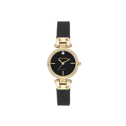 ANNE KLEIN Quartz Black Dial Mesh Bracelet Watch AK-3003BKBK