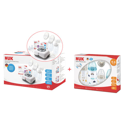 NUK Double Electric Breast Pump Starter Set + Newborn PP Bottle Welcome Set