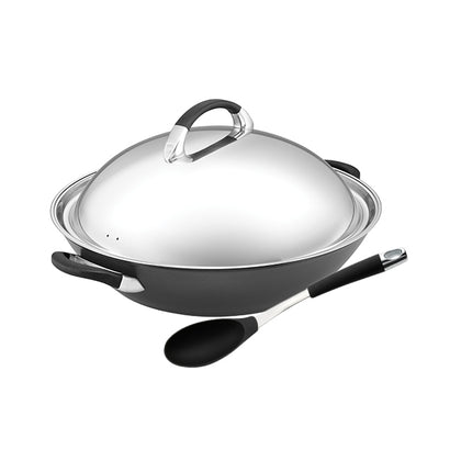 Meyer Circulon Symmetry 36cm Chinese Wok (IH) + Circulon Slotted Spoon