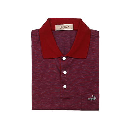 Crocodile Diamond Collection 100% Mercerized Cotton Short-Sleeved Polo - Maroon