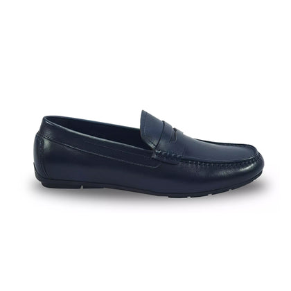 Everbest Leather Moccasin Shoes - Navy