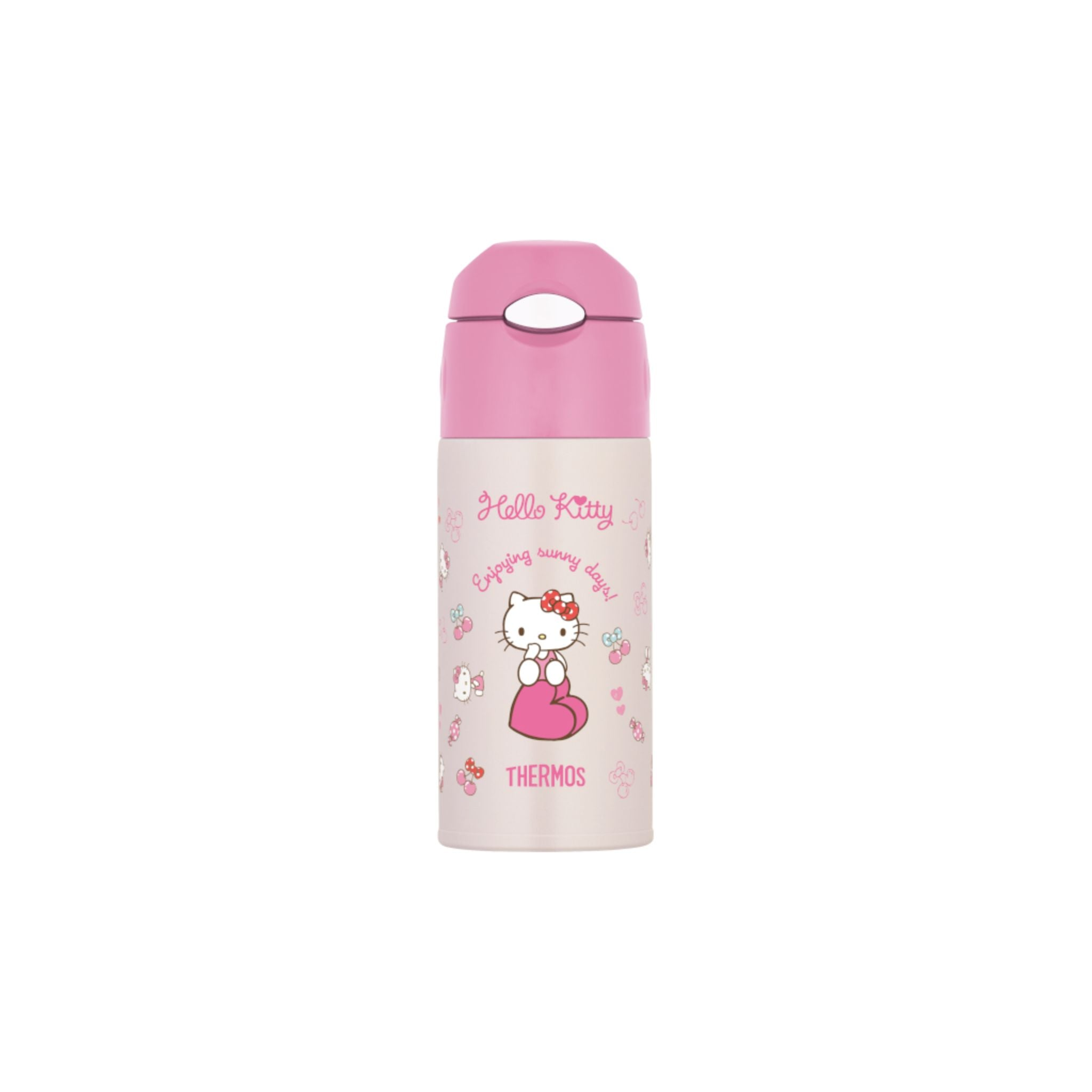 Thermos 0.4L Stainless Steel Vacuum Insulation Sanrio Hello Kitty Straw Bottle - Pink