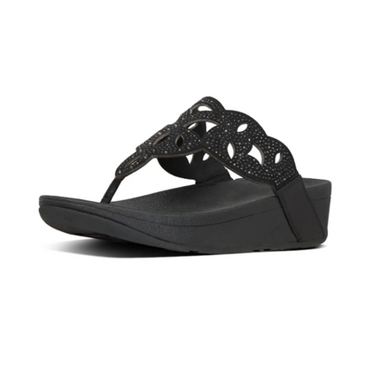 Fitflop Elora Crystal Toe Thongs - All Black