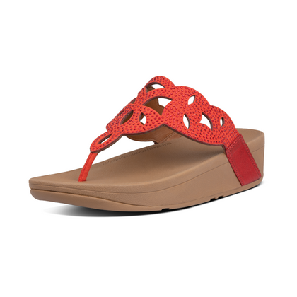 Fitflop Elora Crystal Toe Thongs - Red
