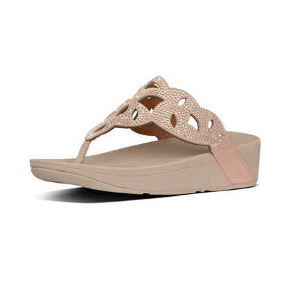 Fitflop Elora Crystal Toe Thongs - Rose Gold