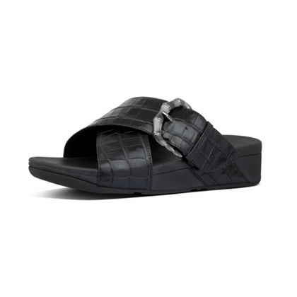 Fitflop Lulu Croco Slides - All Black