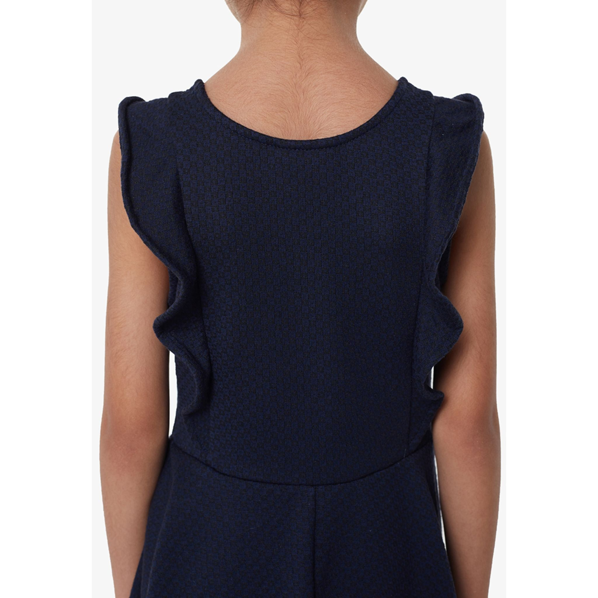 Gen Woo Jacquard Skater Dress - Navy