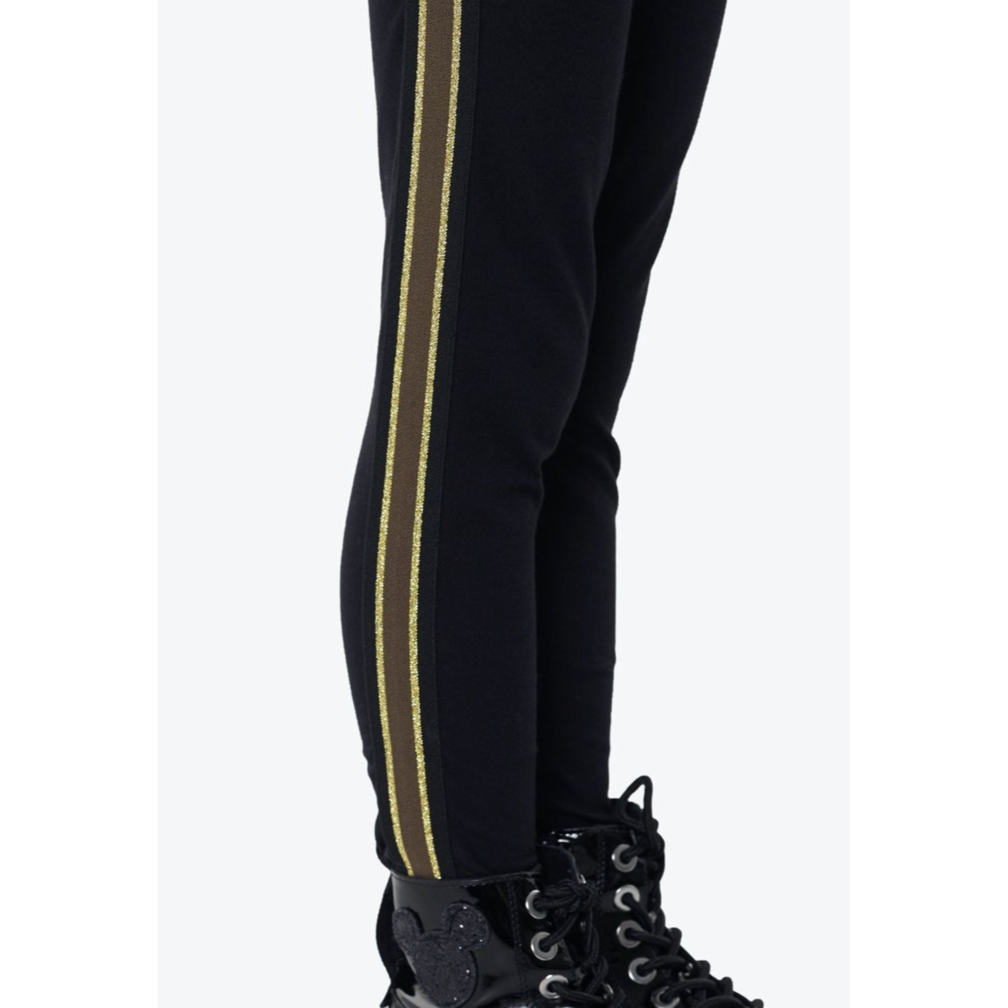 Gen Woo Legging with Khaki Side Tape - Black