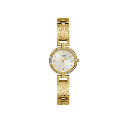 Guess Gold Tone Case Gold Tone Stainless Steel Watch GW0112L2