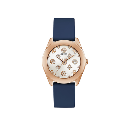 Guess Rose Gold Tone Case Blue Silicone Watch GW0107L4