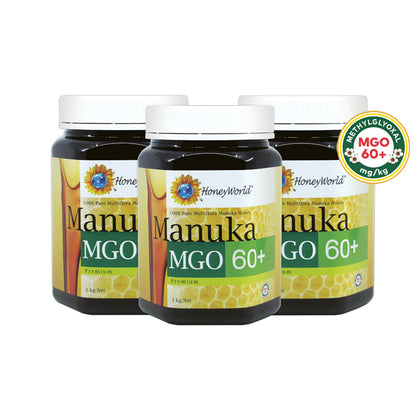 HoneyWorld Manuka MGO60+ 1KG x 3