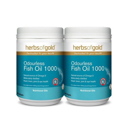Herbs Of Gold Odourless Fish Oil 1000 2 x 300SG