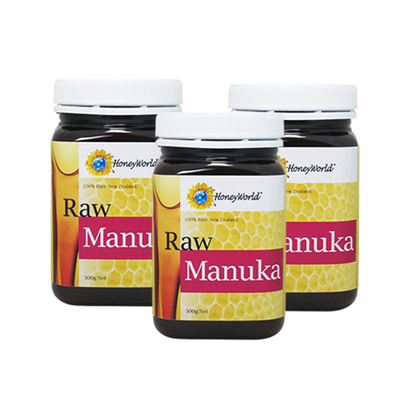 HoneyWorld Raw Manuka 500g x 3