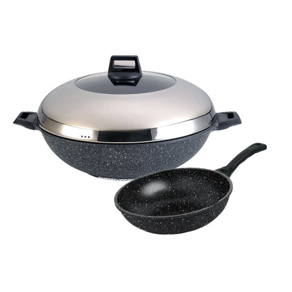 La Gourmet Shogun Senjo Plus Marble Series 40cm Wok + 20cm Open Wok (Induction Friendly)