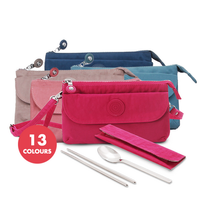 Laselle Nylon Crossbody Bag with Stainless Steel Cutlery Set